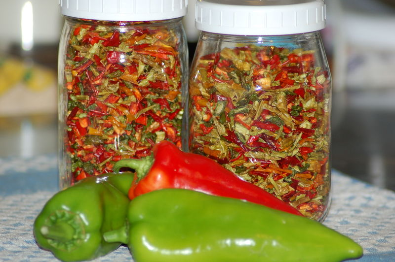 In the kitchen, dehydrated peppers