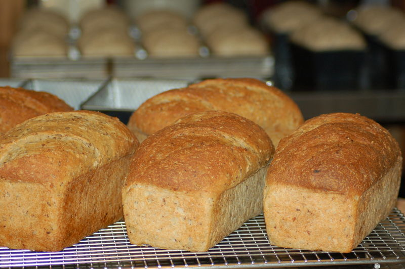 In the kitchen, homemade bread