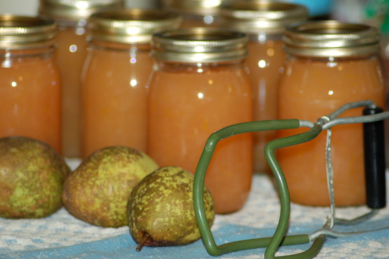 In the kitchen, homemade pear marmalade