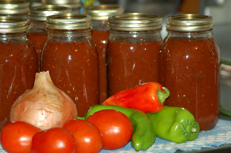 In the kitchen, homemade spaghetti sauce