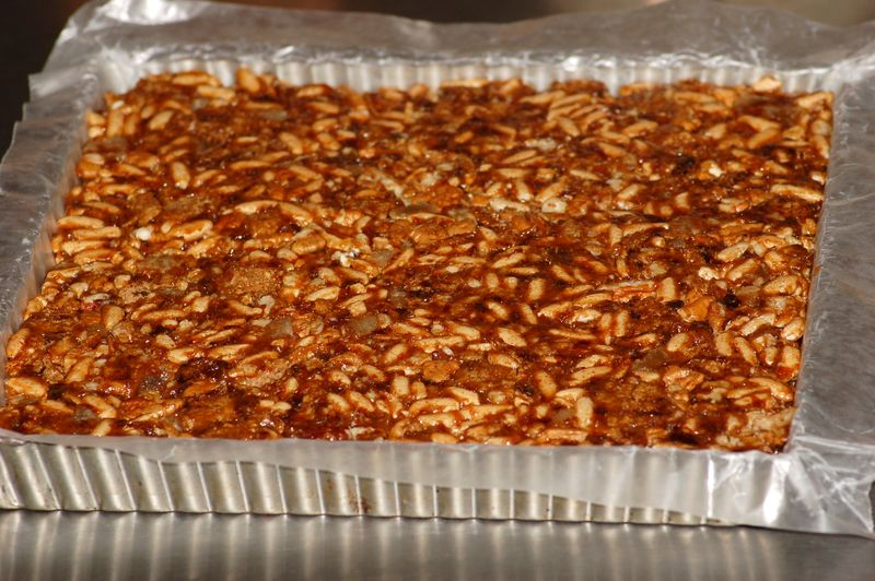 Energy Bar Mix pressed into tart pan