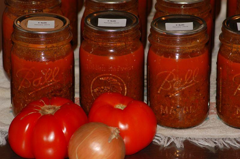 Canning homemade chili
